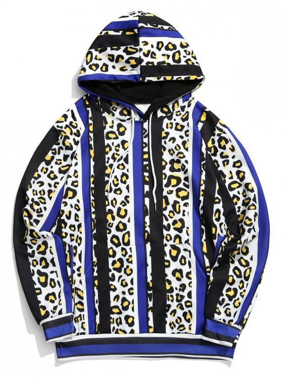 lady Leopard Color Block Striped Print Hoodie - MULTI L