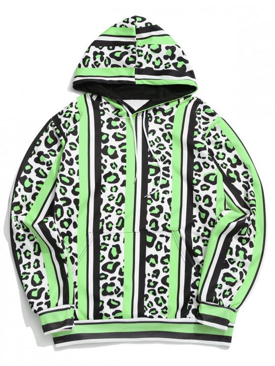 online Leopard Color Block Striped Print Hoodie - MULTI-B L