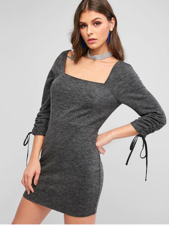 womens ZAFUL Cinched Square Neck Knitted Bodycon Dress - CARBON GRAY S