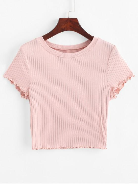 shops ZAFUL Lettuce Trim Ribbed Knit Cropped Tee - PINK ROSE S