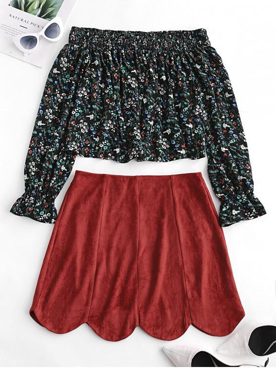 ZAFUL - Robe deux pièces en daim à épaules dénudées et imprimé daim - Châtaigne Rouge XL