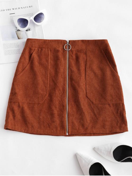 Minifalda de pana con cremallera en los bolsillos ZAFUL - Caramelo M