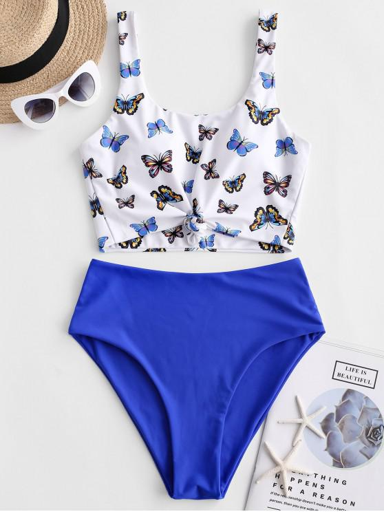 latest ZAFUL Butterfly Print Knotted High Waisted Tankini Swimsuit - MULTI-A S