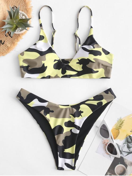 women ZAFUL Camo High Cut Reversible Bikini Swimsuit - WOODLAND CAMOUFLAGE S