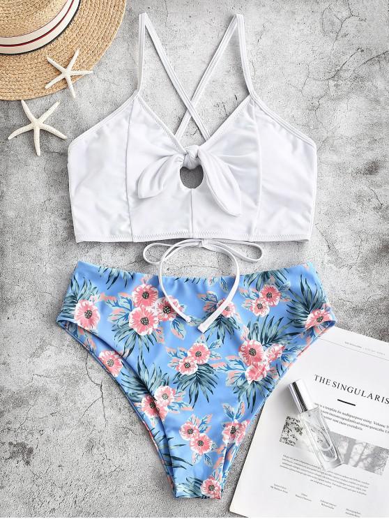 women's ZAFUL Flower Keyhole Tie Lace Up Tankini Swimsuit - MULTI-A S