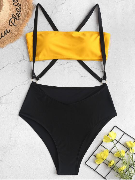 women ZAFUL Two Tone Cross High Cut Suspender Bikini Swimsuit - YELLOW L
