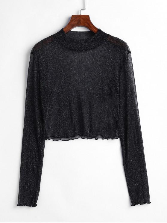 fancy ZAFUL Glitter Mock Neck Lettuce Trim Crop T-shirt - BLACK M
