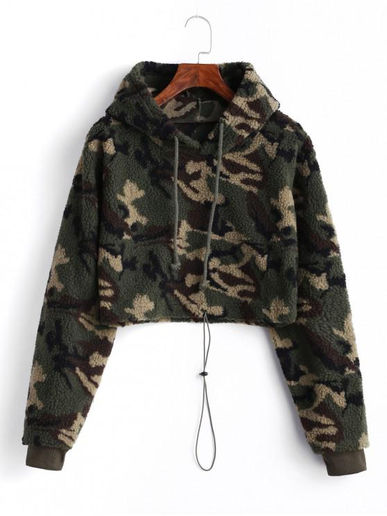 outfit Camo Drawstring Teddy Fluffy Hoodie - ACU CAMOUFLAGE L