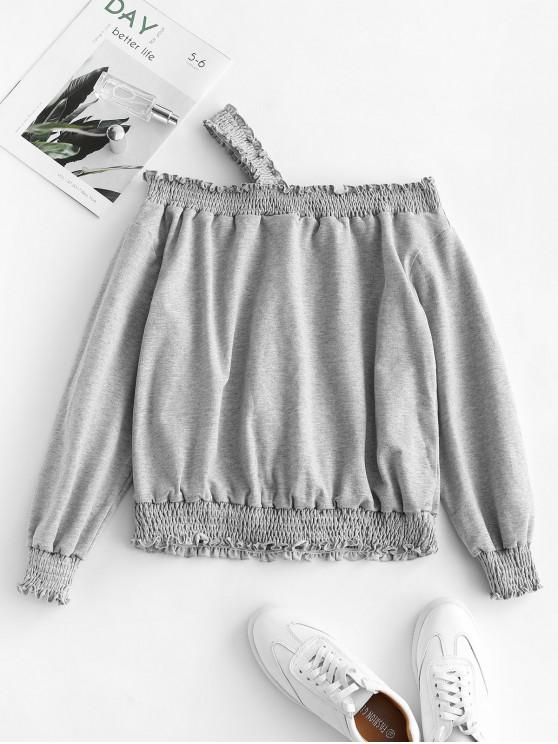 sale ZAFUL Smocked Skew Neck Solid Sweatshirt - GRAY GOOSE XL