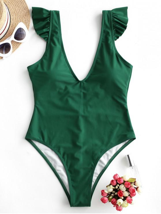 women ZAFUL Plunging Ruffle Open Back One-piece Swimsuit - MEDIUM FOREST GREEN S