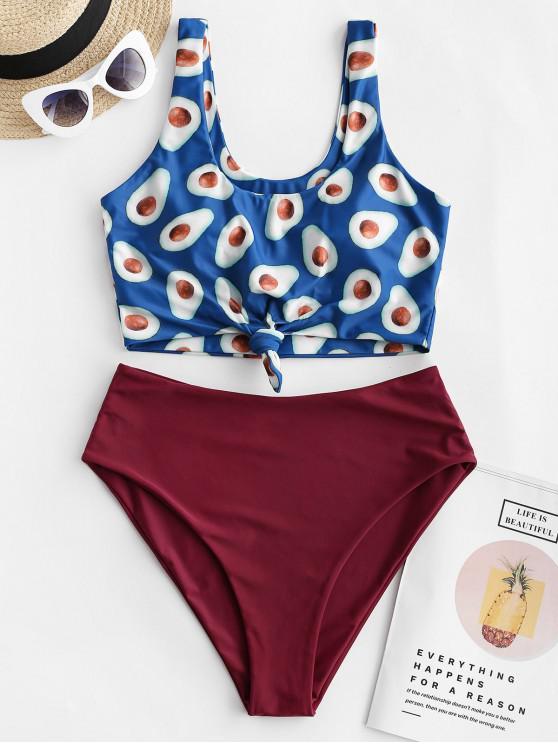 women ZAFUL Knotted Hem Fruit Print Tankini Swimsuit - PEACOCK BLUE L