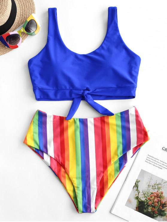 lady ZAFUL Rainbow Tied High Waisted Tankini Swimsuit - COBALT BLUE 2XL