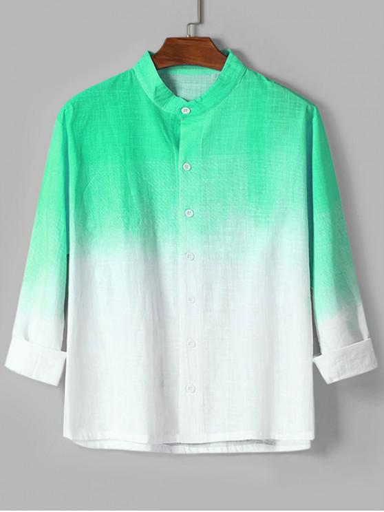 fashion Ombre Print High Low Long Sleeve Basic Shirt - GREEN 2XL