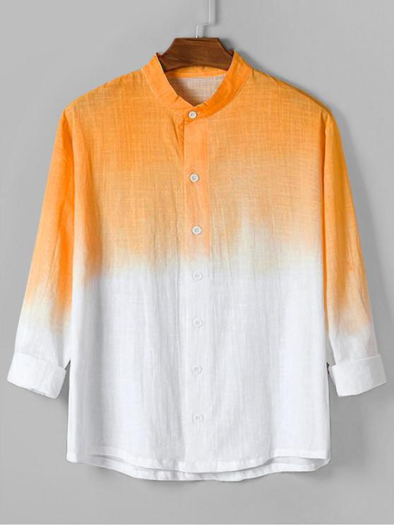 unique Ombre Print High Low Long Sleeve Basic Shirt - ORANGE 2XL
