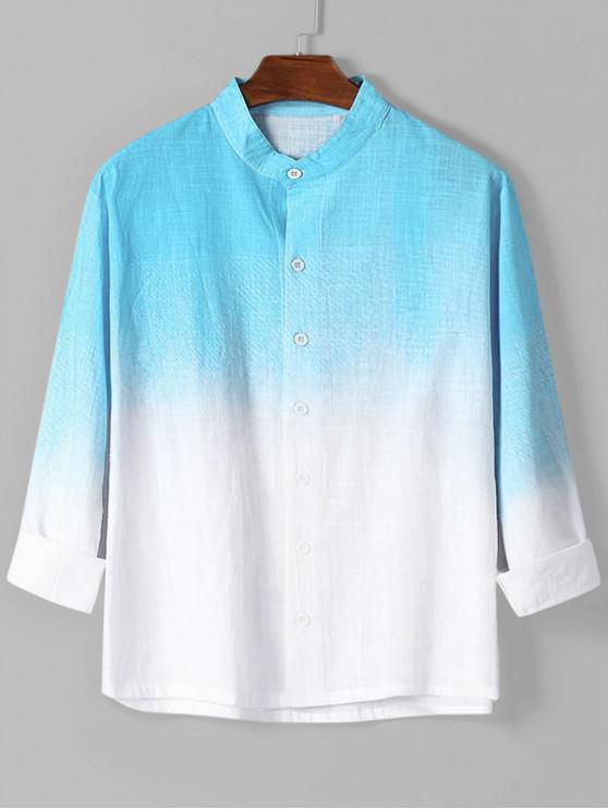 online Ombre Print High Low Long Sleeve Basic Shirt - BLUE L
