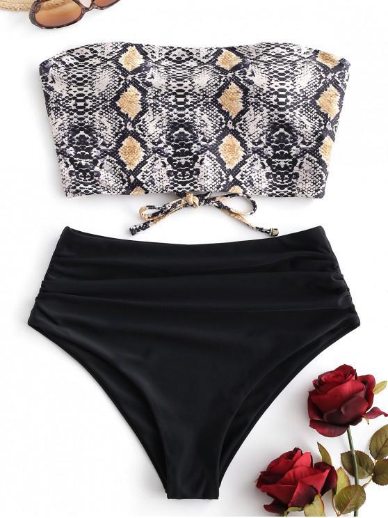 shop ZAFUL Snakeskin Bandeau Tummy Control Tankini Swimsuit - MULTI-A M