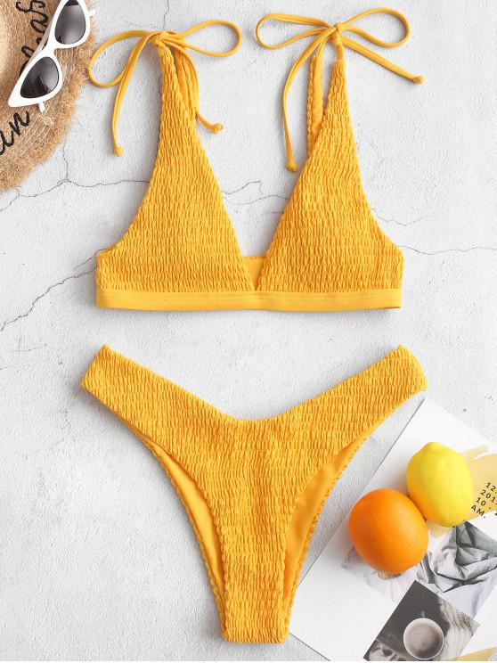 outfits ZAFUL Smocked Tie Shoulder High Cut Bikini Swimsuit - BRIGHT YELLOW S
