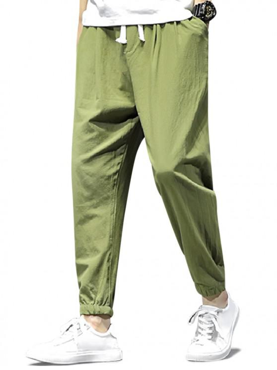 womens Solid Color Sport Casual Jogger Pants - ARMY GREEN S