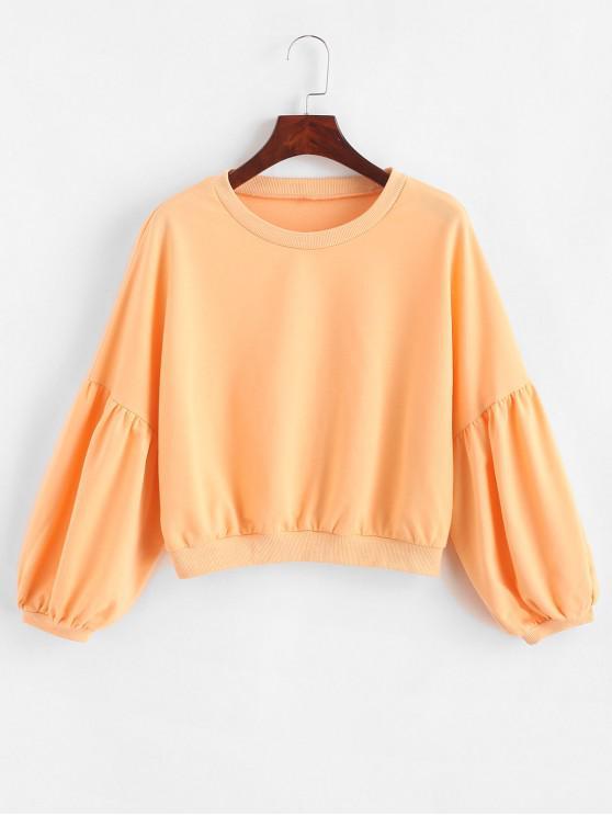 outfit ZAFUL Drop Shoulder Plain Lantern Sleeve Sweatshirt - CORN YELLOW L