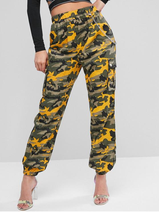 womens Chain Flap Pockets Camouflage Jogger Pants - YELLOW M