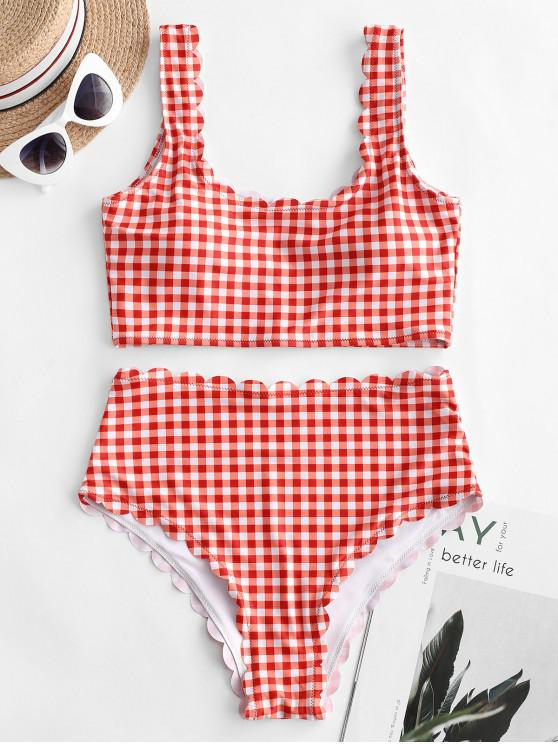 unique ZAFUL Plaid Scalloped High Waisted Tankini Swimsuit - BEAN RED L