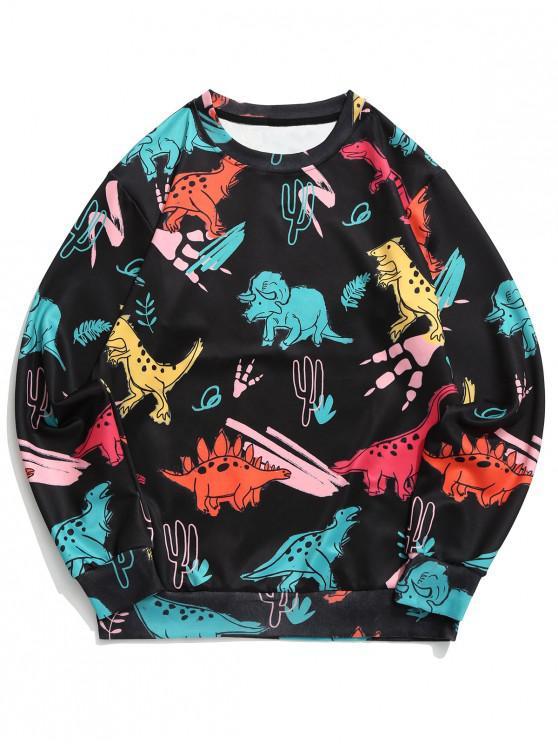 trendy Dinosaur Plant Print Round Neck Graphic Sweatshirt - BLACK XL