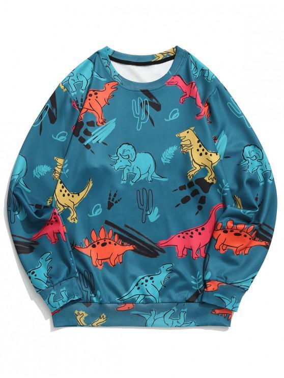 women Dinosaur Plant Print Round Neck Graphic Sweatshirt - DARK GREEN 2XL