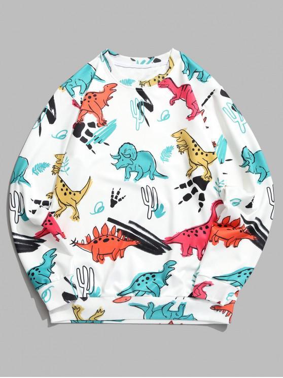 sale Dinosaur Plant Print Round Neck Graphic Sweatshirt - WHITE 4XL