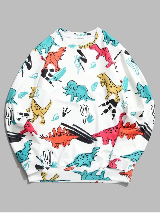 ladies Dinosaur Plant Print Round Neck Graphic Sweatshirt - WHITE M