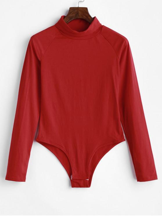 trendy Raglan Long Sleeve Turtleneck Bodysuit - CHESTNUT RED XL