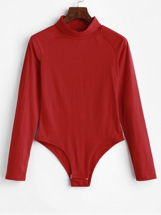 chic Raglan Long Sleeve Turtleneck Bodysuit - CHESTNUT RED S