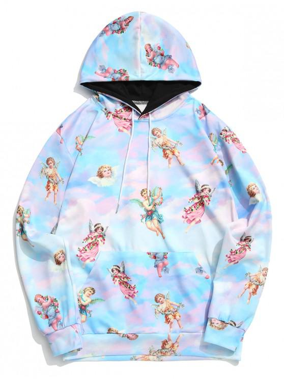 women Paradise Angel with Flower Print Kangaroo Pocket Drawstring Hoodie - MULTI M