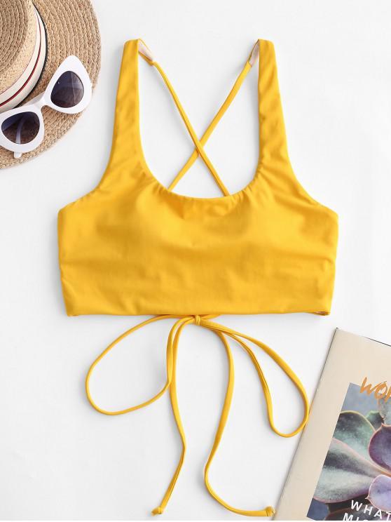 ZAFUL   Bikinioberteil mit U-Ausschnitt und Gekreuzter Rückseite - Gelb L