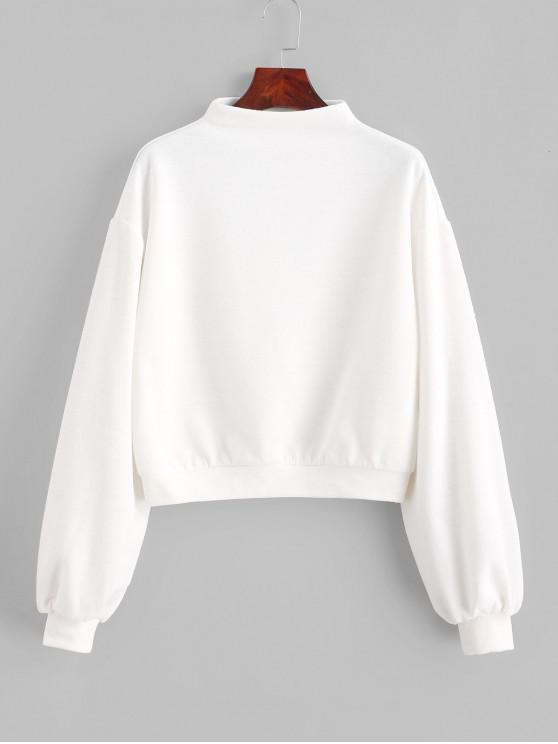 womens ZAFUL Pullover Mock Neck Plain Sweatshirt - MILK WHITE XL