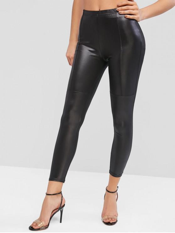 fashion High Waisted Faux Leather Plain Leggings - BLACK M