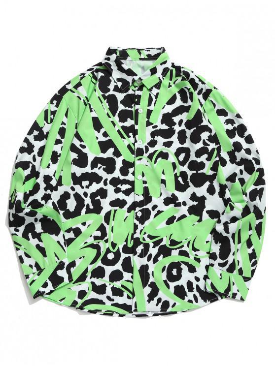 online Leopard Letter Graphic Paint Print Curved Hem Shirt - MULTI S