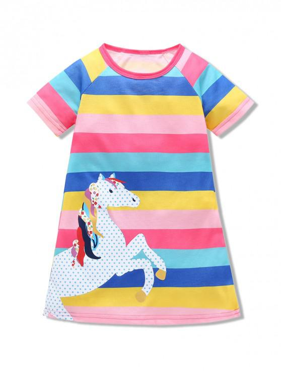latest Girls Colorful Striped Horse Graphic Short Sleeve Dress - MULTI 110