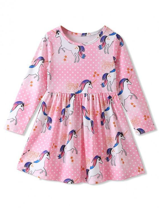 ladies Girls Polka Dot Unicorn Print A Line Dress - PINK 120