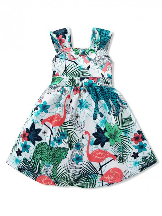chic Girls Tropical Flamingo Print Bow Belted A Line Dress - GREEN 100