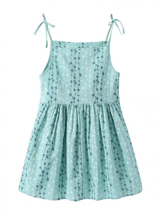 new Girls Floral Print Bowknot Cami A Line Dress - GREEN 120