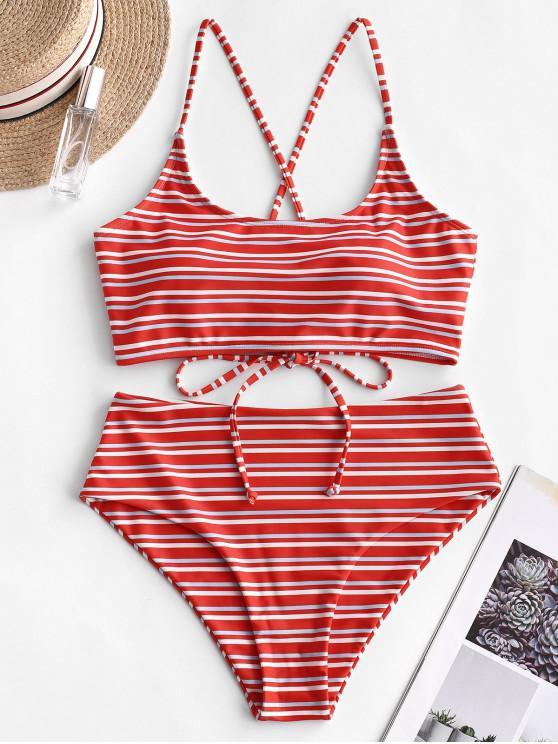 women ZAFUL Crisscross Lace-up Multi Striped Bikini Swimsuit - MULTI-A XL