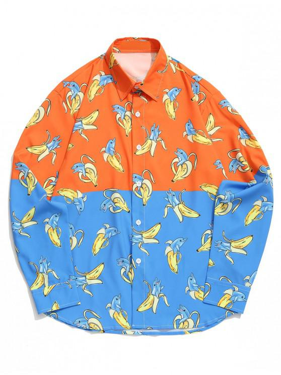 outfits Two Tone Dolphin Banana Allover Print Spliced Beach Vacation Shirt - MULTI 2XL
