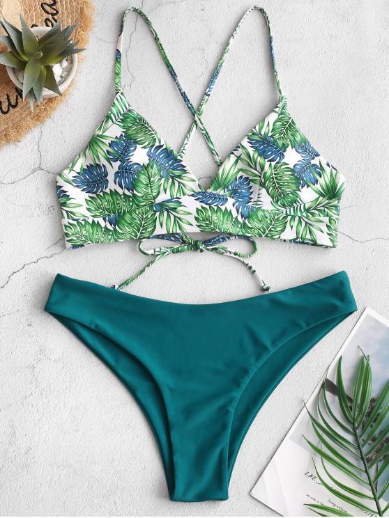 Bañador de bikini tropical de hoja de palma con cordones ZAFUL - Azul Eléctrico M