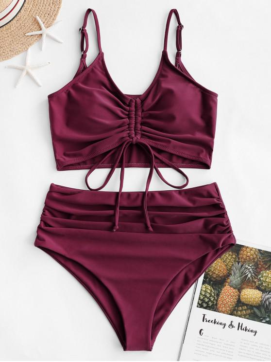 hot ZAFUL Cinched Ruched Tankini Swimsuit - MAROON L