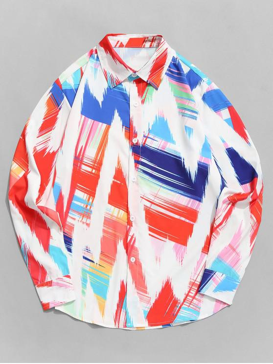chic Colorful Wave Paint Print Long Sleeve Curved Hem Shirt - MULTI-A 2XL