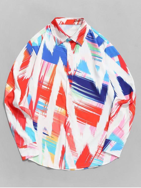Camisa dobladillo de manga larga con estampado de onda colorida - Multicolor-A XL