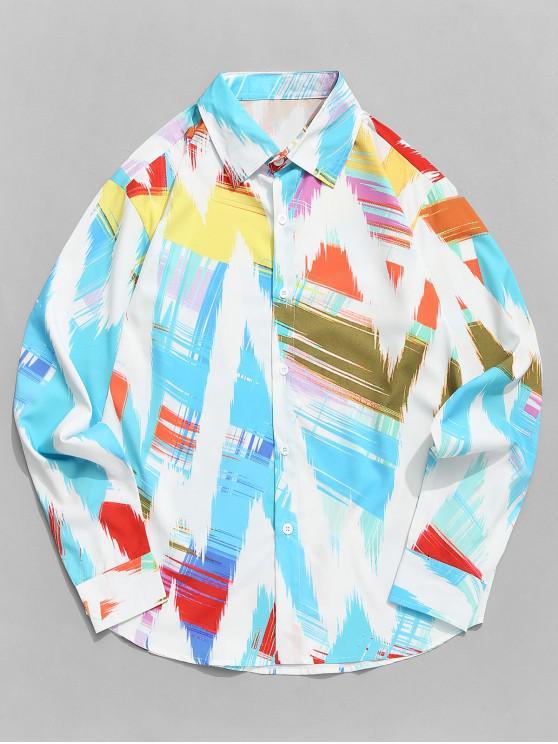 women Colorful Wave Paint Print Long Sleeve Curved Hem Shirt - MULTI XL