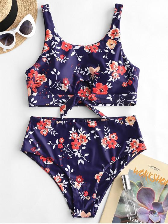 women's ZAFUL Flower Keyhole Tied High Waisted Tankini Swimsuit - MULTI-A M