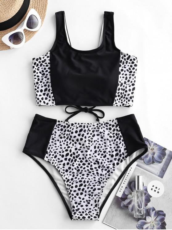 shop ZAFUL Dalmatian Print Lace Up Tankini Swimsuit - BLACK L
