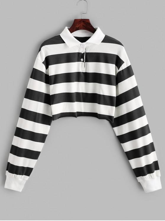 hot Contrast Striped Crop Half Button Sweatshirt - MULTI-B M